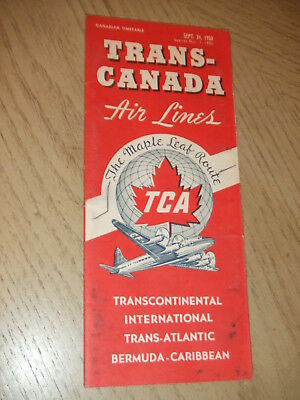 VINTAGE 1950 Trans Canada Airlines Routes System Timetable Fare Brochure Map TCA