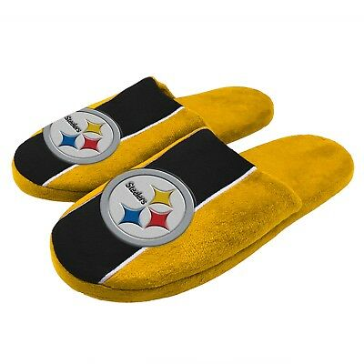 Pair of Pittsburgh Steelers Big Logo Stripe Slide Slippers House shoes NEW STP18