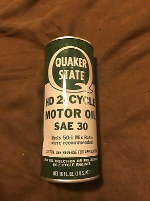 Vintage Quaker State HD 2 Cycle Motor Oil Metal Can 1 Pint NOS ADVERTISING