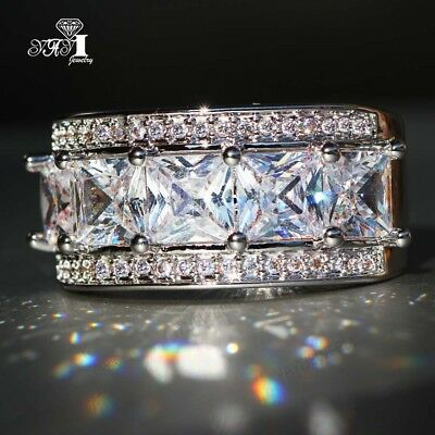 New 925 Silver Filled White Sapphire Birthstone Wedding Band Ring Christmas Gift