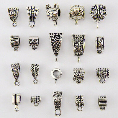 Tibetan Silver Charm Pendant Bail Connectors 20Styles-1 Or Mixed FB08