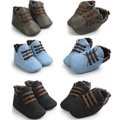 Newborn Baby Boy Girl Crib Shoes Toddler Soft Sole Leather Sneakers Prewalker KW
