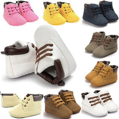 Toddler Newborn Baby Boy Girl Leather Soft Sole Crib Shoes Sneakers Prewalker KW