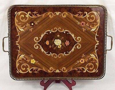 """Italian Inlaid Marquetry LARGE 23"""" Serving Tray w/ Kingwood, Brass Edge Handles"""
