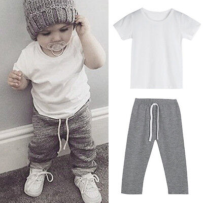 Toddler Kids Baby Boy Outfits Clothes T-shirt Tops+Pants Tracksuit 2PSC/Set KW