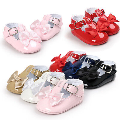New Baby Girl Princess Grib Shoes Leather Soft Sole Sneaker Christening Pram KW