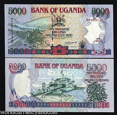 UGANDA 5000 5,000 SHILLINGS P37 a 1993 HORSE RAILROAD SHIP CAR UNC AFRICA NOTE