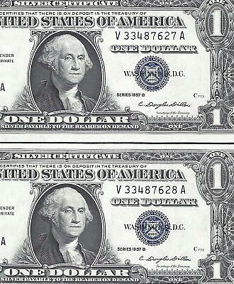 1957A $1 SILVER Certificates! 2 Consecutive CHOICE AU! Old US Paper Money!