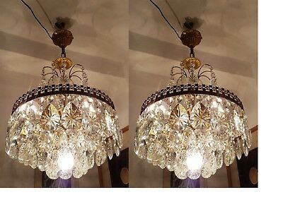 A Pair Of Antique Vintage BOHEMIA French Basket Crystal Chandelier Ceiling Lamp