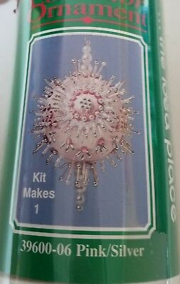 Mary Maxim Collector Ornament Kit Pink/Silver 39600-06 Vintage Beaded Kit Nib