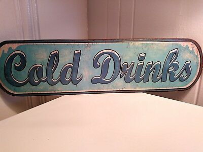 Man Cave Tin Sign Cold Drinks Vintage Look