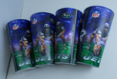 """JETS NEW YORK GLASSES 3D Image flasher Tumblers  Cups 4PCS- NFL 6""""TALL"""