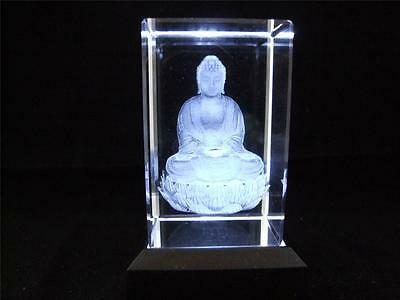 Buddha Solid Glass Crystal Laser Block with a White Light Base.