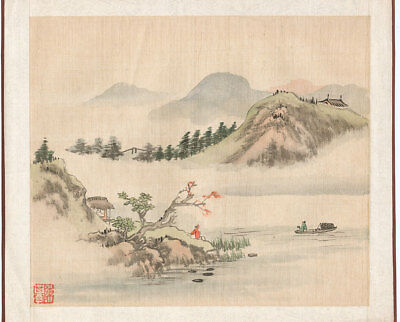 Genuine Japanese Painting of River and Mountains