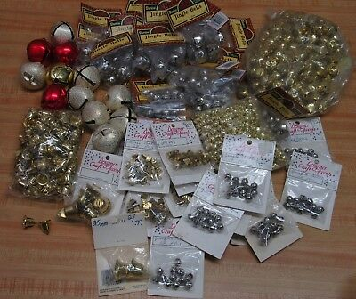 Lot of Assorted Sizes Gold & Silver Metal Jingle Bells Christmas Craft Supplies