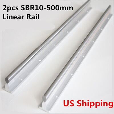 2Pcs SBR10-500mm Linear Motion Shaft Supported Guide Router Slide Bearing Rod