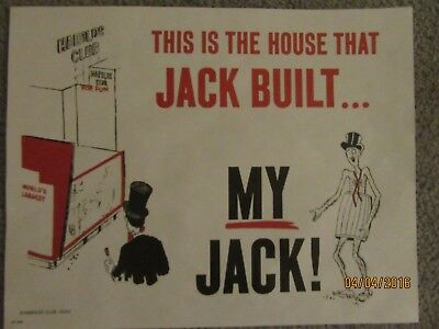 "Harolds Club Casino Reno ""this Is The House That Jack Built - My Jack!"" Sign"