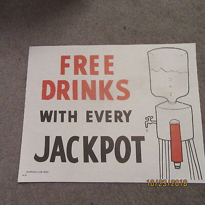 "Harolds Club Casino Reno ""free Drinks With Every Jackpot"" Sign"