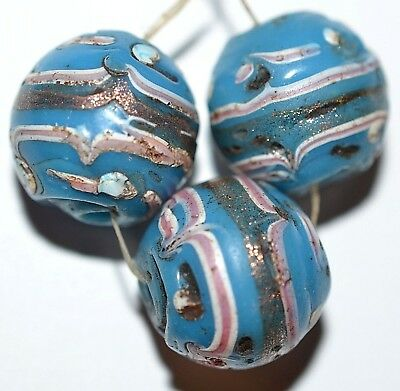 Antique Venetian Lampwork Italian Blue Glass Fancy Beads Gold Deco African Trade