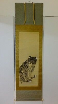 Painting of Tiger Japanese Antique Kakejiku Hanging Scroll w Box Artist Signed