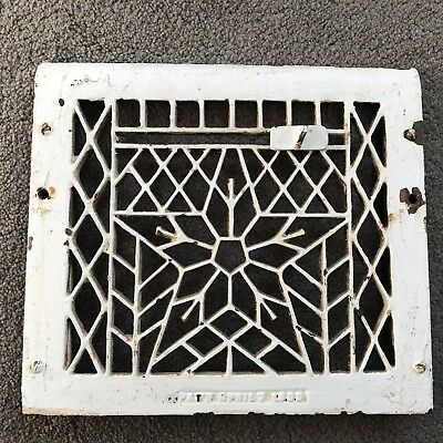 "Antique Decorative Cast Iron Heat Vent Grate Register Star 12""x10.5"" Patent 1908"