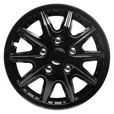 Revolution 14 Inch Wheel Trim Set Gloss Black Set of 4 Hub Caps Covers - TopTech