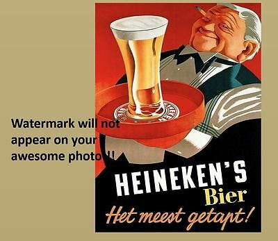 Vintage Heineken Beer Ad PHOTO,Bar Sign Liquor Pub Cold Glass Beer Advertisement