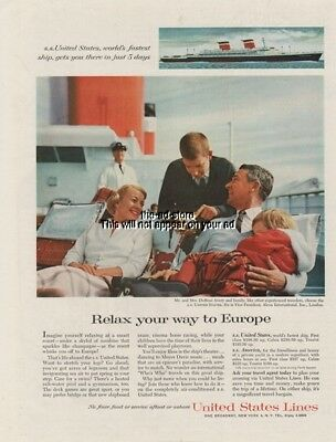1961 SS United States Cruise Ship Lines DuBose Avery ALCOA 1960s Deck Photo Ad
