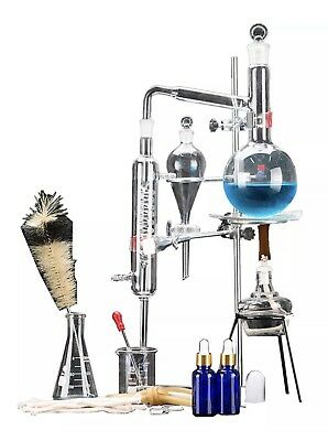 SUPER 500ml Lab  Essential Oil Distillation Apparatus Water Pure Glassware Kits