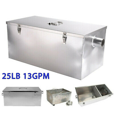 Commercial Kitchen 25LB 13GPM Gallon Per Minute Grease Trap Stainless Steel Tool