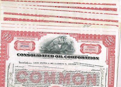 Set 9 Consolidated Oil Corp., 1930s, red, VF