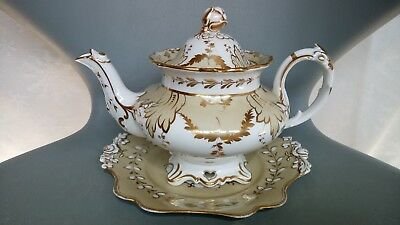 JOHN RIDGWAY ANTIQUE 19th CENTURY LARGE TEAPOT & STAND c1845 (PATTERN 6912)