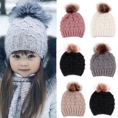 Toddler Kid Baby Boy Girl Winter Faux Fur Pom Knit Beanie Ski Cap Bobble Hat KW