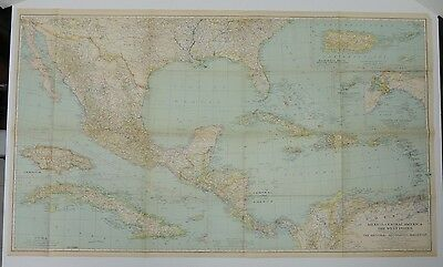 Mexcio + Central America + West Indies ~ Dec. 1934 National Geographic map