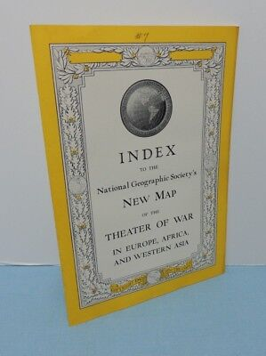 INDEX booklet July 1942 Map THEATER Of WAR - WW2 ~ National Geographic Society