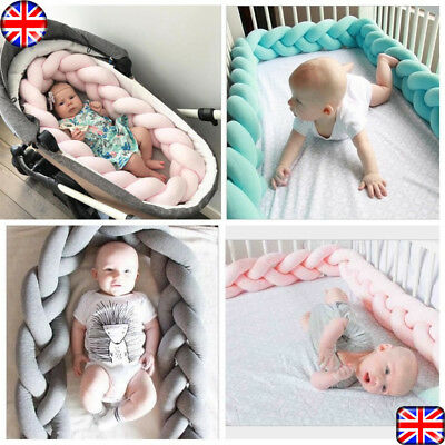 Baby Infant Plush Crib Bumper Bed Bedding Cot Braid Pillow Pad Protector 1.5M 2M