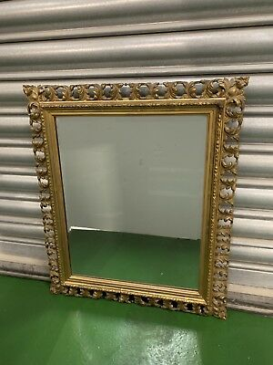 Antique Gold Gilt Baroque rococo Art Nouveau French Style Bevelled Mirror