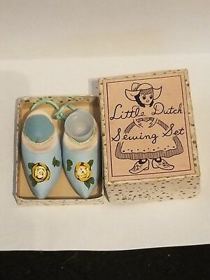 VINTAGE 1950'S toy childs  MIB LITTLE DUTCH SEWING SET shoes pin cushion thimble