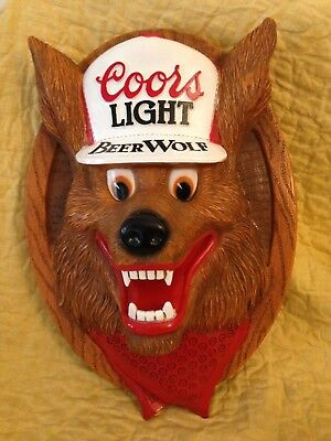 """Vintage COORS LIGHT """" BEER WOLF """"  3D Plastic Molded Wall Plaque"""