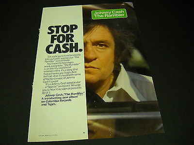 JOHNNY CASH 1977 Rare Promo Flap-Over INSERT AD Stop For Cash....