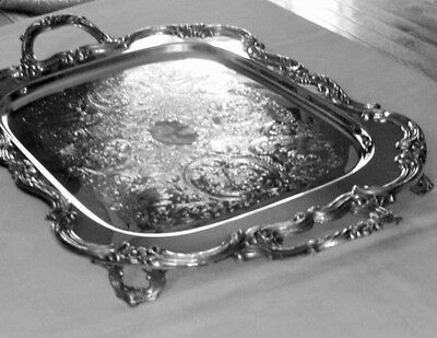 Lovely Guildcraft Silversmith #6277-5 Antique Silver Plate Footed Butlers Tray