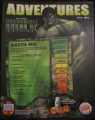 BURGER KING kids club ADVENTURES IRON INCREDIBLE HULK QTY 3  RARE