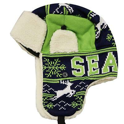 46562f1771c9d SEATTLE Winter Trapper Hat Snow Deer Aviator Knit Fleece Beanie Adult OSFA  New
