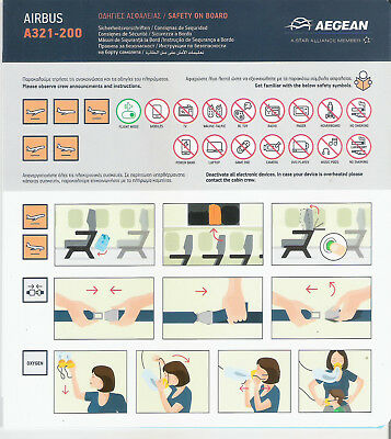 New 2018 - Aegean Airlines (Greece) Safety Card Airbus A321 200 Star Alliance