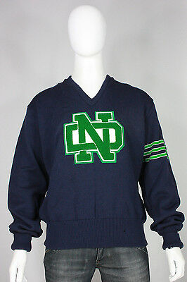 Vintage Notre Dame wool sweater XL new v-neck varsity vtg made in usa football