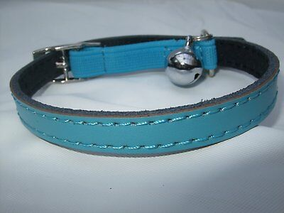 Cat Collar Kitten Real Leather safety Elastic Free Post 6 colours bell