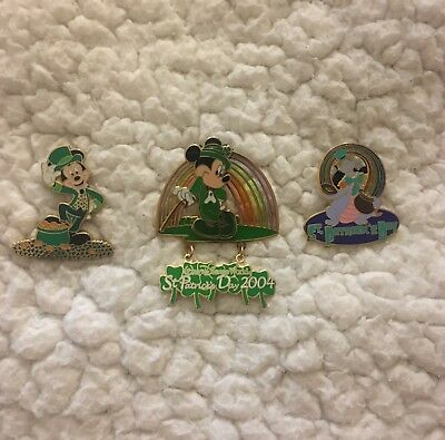 WDW Disney St Patricks Day Themed Pins 1 Mickey, 1 Figment Of Epcot, 1 3D Mickey