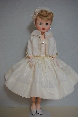 "Cream Taffeta Dress, Wool Jacket & Hat for 20-21"" Vintage&Modern Cissy MA Doll"