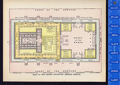 Courts of the Gentiles, Women & Priests - Herod's Temple - 1938 Biblical Print
