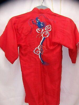 Vintage Antique Chinese Japanese child's robe DRAGON kimono Embroidered